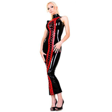 Buy High Quality Sexy Fetish Bondage Long Hobble Faux Leather Lycra Red Black Dress Front Wetlook Leather Long Club Dress Nightwear