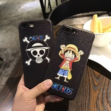 Japan Super Cute Cartoon One Piece Monkey D Luffy Skull Silk Pattern TPU Case Cover For Iphone6S 7 4.7inch 6Plus 7Plus 5.5inch(China)