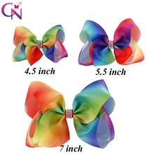 "9 Pcs/lot 7"" 5.5"" 4.5"" Ribbon Rainbow Bows With Rhinestone Center For Girls Kids Handmade Diamond Hairgrips Hair Accessories"