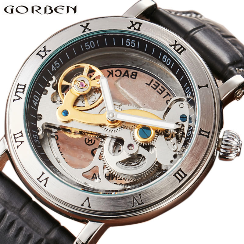 Skeleton Automatic Watches Mens Sports Luxury Top Brand Mechanical Wrist Watch Golden Bridge Double-side Hollow Design Hodinky<br>