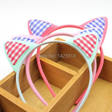 1pc Classic plaid horse plush rabbit ears Baby headband Orecchiette girls hairband Children Boutique hair Accessories Hair clasp(China)