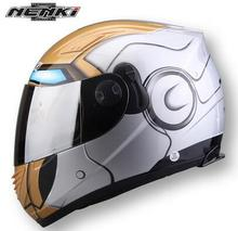 Racing Iron-ManFull Face Motorcycle Helmet Winter Spider Men Double Lens Casco Motorbike Casque(China)