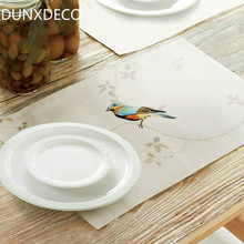 DUNXDECO 2PCS 33x48CM Luxury Elegent Bird Embroidery Modern Linen Cotton Table Placemat Home Store Party Table Decor Gift