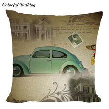 Retro Car Paris Bus Red Taxi Cushion Cover Home Decor Sofa Car Seat Decorative Pillow Case Route US 66 Garage Throw Pillows