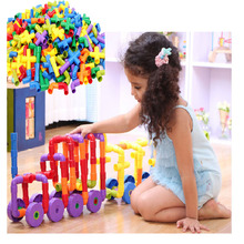 2017 New 72 PCs Children Water Pipe Colorful Self Locking Bricks Plug Match Building Blocks Tunnel Plastic Kids Educational Toys(China)