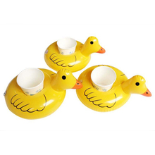 6pcs Mini Inflatable Yellow Duck Drink Cup Can Floating Holder Pool Floats Summer Swimming Party Ring Adults Kids Fun Water Toys(China)
