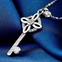 LIAMTING Silver Key Pendant Necklace With Rhinestone Jewelry Hot Sale Fashion 925 Sterling Silver Chain Necklace VA025