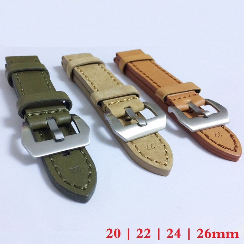 20mm 22mm 24mm 26mm Leather Watch Strap Watch Band Man Watch Straps Green Orange Beige with Stainless Steel Silver Buckle<br><br>Aliexpress