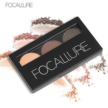 3 Color Waterproof Eye Shadow Eyebrow Powder Make Up Palette Women Beauty Cosmetic Eye Brow Makeup Kit Set by Focallure(China)