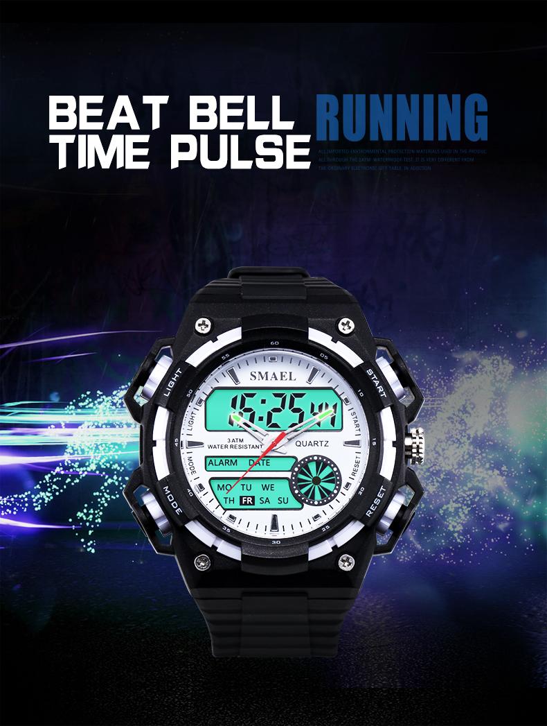 SMAELผู้ชายนาฬิกากองทัพดิจิตอลนาฬิกาสปอร์ตGสไตล์ช็อกนาฬิกาของมนุษย์1438นาฬิกาข้อมือm ontre homme LEDนาฬ... 13