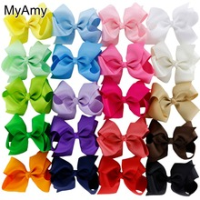MyAmy 40pcs/lot 4.5'' boutique hair bows grosgrain ribbon bow WITH alligator clip for baby girls children kids teens toddler