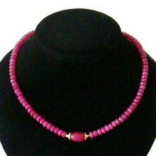 Natural Stone Jewelry Vintage Classic Delicate Pink Rubies Beads Necklace (length 45cm)