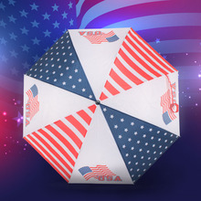 SUSINO Manual Open 2-Folding Umbrella Semi-automatic Polyester Compact Durability Useful Men's Auto open American Flag Umbrella