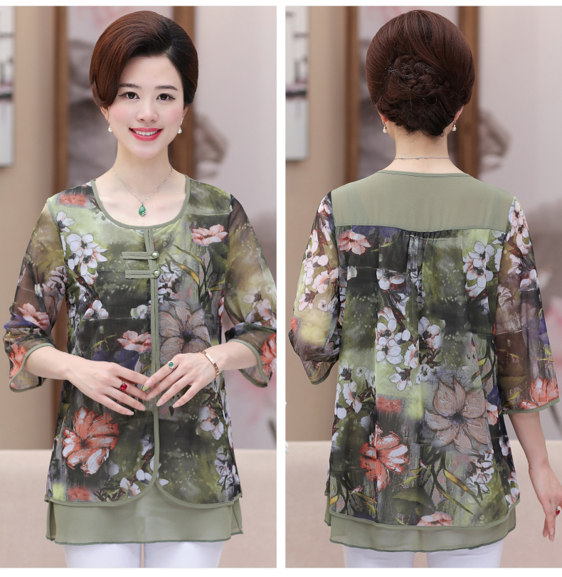 WAEOLSA Chinese Style Woman Ethnical Chiffon Blouses Gray Blue Red Green Flower Layered Tops Women Oriental Boon Design Blouse Lady Crepe Tunic (10)
