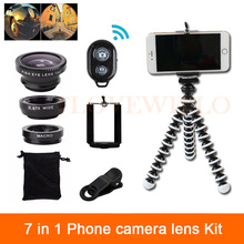 7in1 Phone Lenses Kit Fish eye Wide Angle Macro Lens For Xiaomi redmi 2 3 S 4 note 3 MI4 MI5 MI6 Clips Tripod Remote Control(China)
