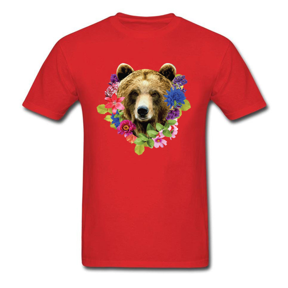 Floral Bearr Mens Fied Classic Tops T Shirt Round Collar Lovers Day Coon T-shirts Summer Short Sleeve Sweatshirts Floral Bearr red