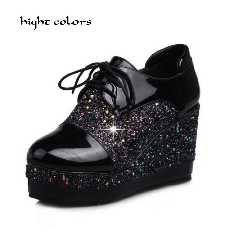 hight colors Brand Women Shoes Autumn Sequined Cloth Elevator Platform Wedges Shoes Woman High Heels Casual Pumps HC118<br>