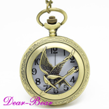 (1032) Punk The Hunger Game Bird Pocket Watch, wholesale12 pcs/lot