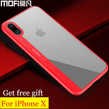 MOFi case for iphone x case cover soft silicone edge back hard PC anti-knock for apple x iphonex logo for iphone x cases cover(China)