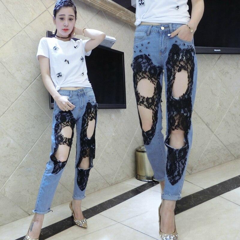 lace beading hole jeans 2017 Fashion Boyfriend style Hollow out Sexy women Denim harem ripped pants female lace jeansÎäåæäà è àêñåññóàðû<br><br>