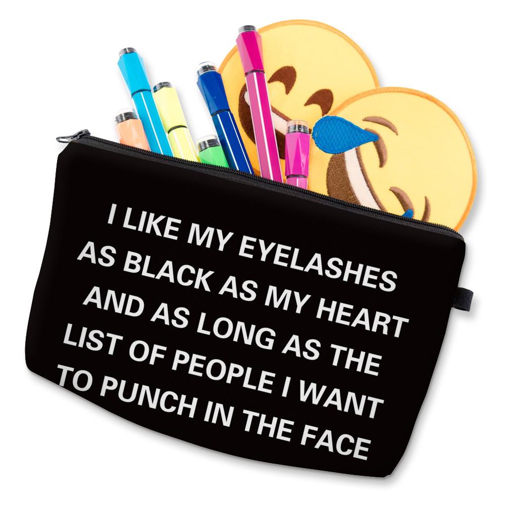 """I Like My Eyelashes"" Printed Makeup Bag Organizer 29"
