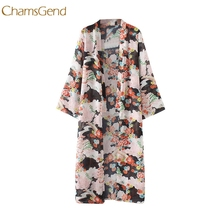 2017 Fashion Summer Kimono Cardigan Women Loose Long Blouses Shirt Large Size Chiffon Beach Shirts Sunscreen Drop shipping(China)