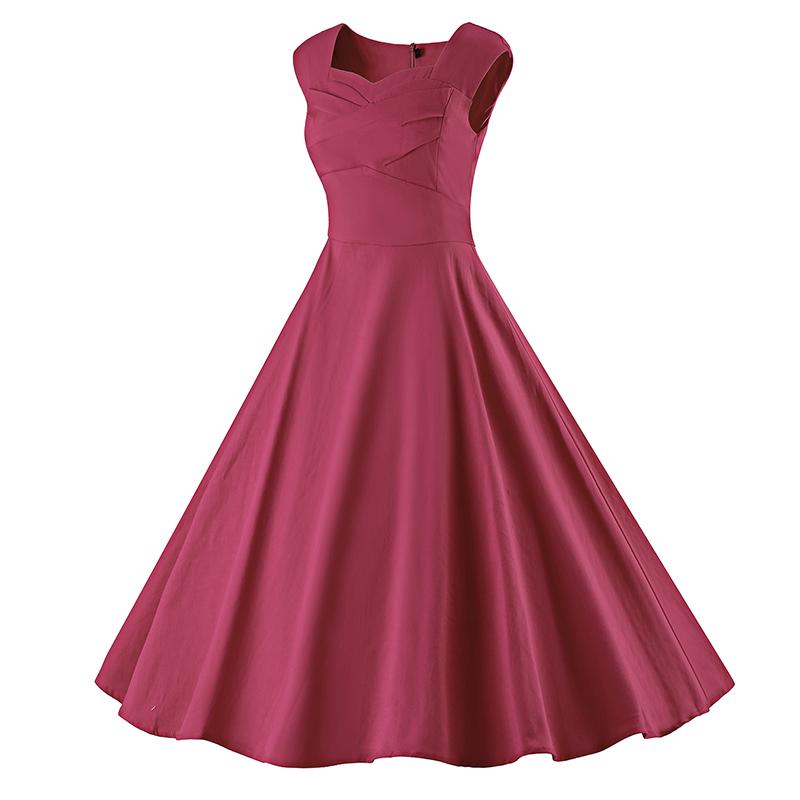 Kostlich 6 Color Retro Summer Dress Women 2017 Sleeveless Hepburn 50s Vintage Dress Elegant Big Swing Rockabilly Party Dresses (13)