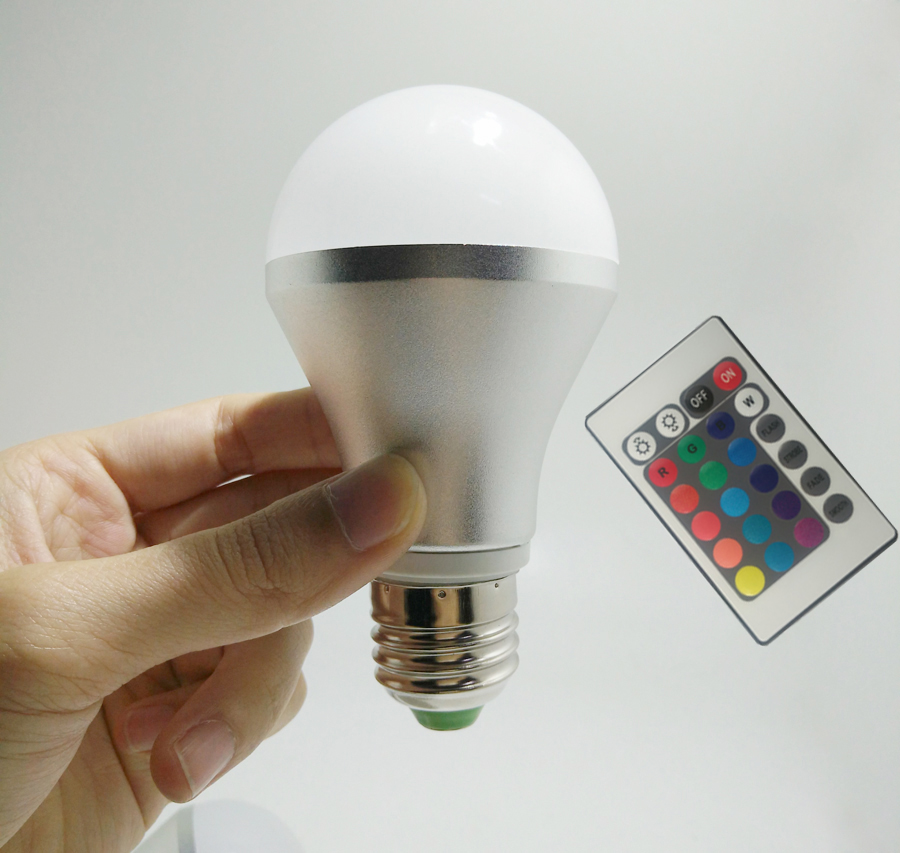 5 pcs / group free cargo led lamp with led e27 rgb led bulb with remote control Real 5 W AC220V RGBW Dimension bulb lamp<br><br>Aliexpress