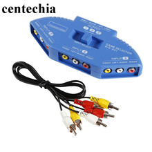 Centechia 3 Way Port Audio Vedio AV RCA Game Selector Switch Box Splitter Composite AV Signal Switch RCA cable High quality