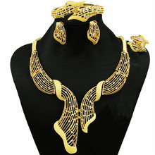Nigerian Wedding jewelry necklace African Jewelry Sets Fashion Dubai Gold Jewelry Sets For Women indian jewelry(China)
