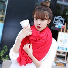 2017 New Fashion Winter Women Scarf Vintage Ladies Solid Color Black Red White Scarves Warp shawl female bufanda mujer cachecol