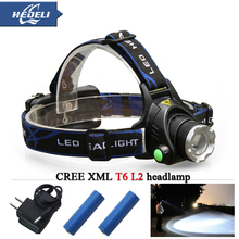 cree headlight led headlamp xm l t6 xm-l2 waterproof zoom head lamp 18650 rechargeable battery flashlight head torch Lights