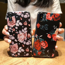 3D Flower Rose Patterned Phone Cases For iPhone 6 6S plus Soft Silicone TPU Back Girl Cover Cases For iPhone 7 8 plus Coque Capa(China)