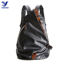 2017 Fashion Men's Backpack PU Leather Backpacks Male Laptop Backpack 14 inch Leather SchoolBag Black Travel Anti Theft Backpack(China)