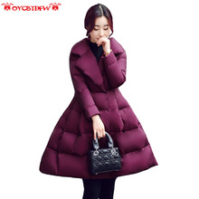 2017 Winter new solid color thickening Cloak type female down jacket mid-long section Polo collar long sleeves women coat ly0111(China)