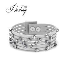 Destiny Jewellery Embellished with crystals from Swarovski bracelet Heart leather bracelet DB0072