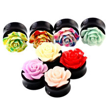 2PCS Acrylic Plugs and Tunnels Ear Plugs Flower Plug Tunnels Rose Earring Gauges Ear Flesh Stretcher Piercings Sex Body Jewelry