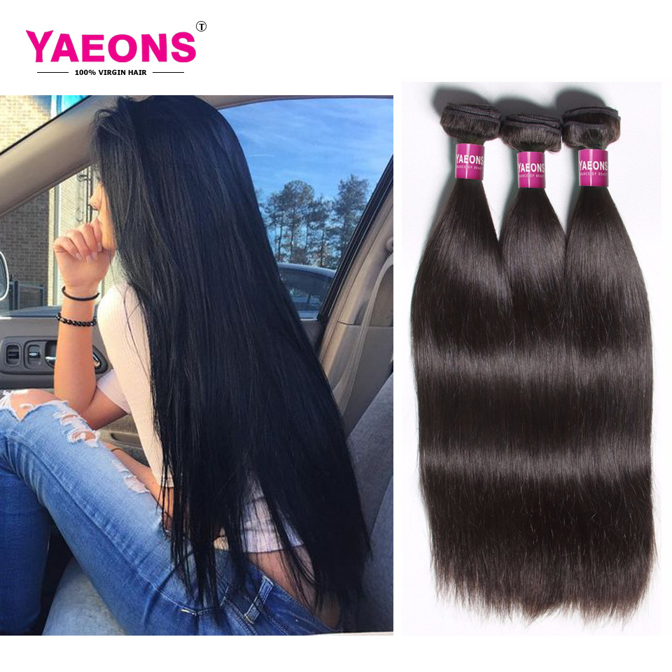 Hot Sale 7A Indian Virgin Hair Straight 3 Bundles Human Hair Bundles Yaeons Product Virgin Indian Hair Weave Bundle Remy Hair<br><br>Aliexpress