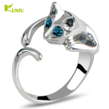 KUNIU Fashion 1Piece Silver Color Ring Kitten Cute Cat Animal Crystal Blue Eyes Ring Jewelry