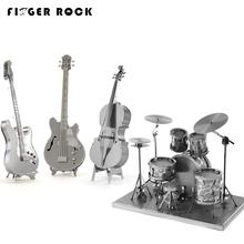 Finger Rock New 3D Metal Puzzles DIY Model Musical Instrument Band Guitar Violoncello Piano Drum Kit Children Toys Present Gift(China)