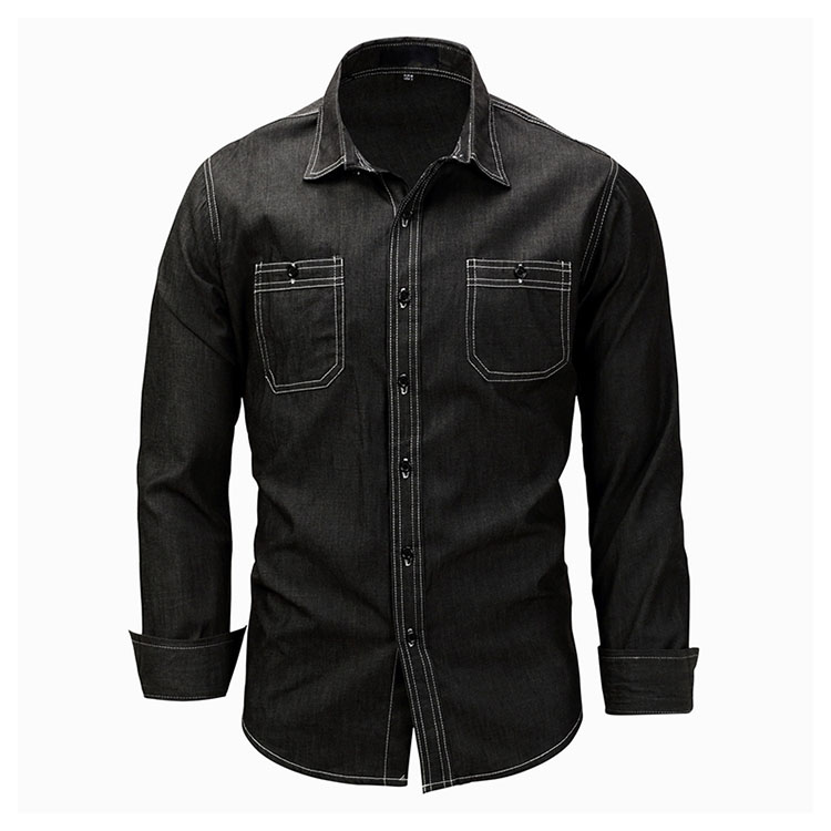 Aolamegs Denim Shirts Men Long Sleeved With Chest Pockets Jean Shirt Solid Color Fashion Casual Cotton Shirts Plus Size M-XXXL (2)