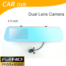 Car DVR Dual Camera Rearview Mirror Dash Cam G-Sensor HD 1080P 4.3'' 140 Degree High Quality Reverse parking camera(China)