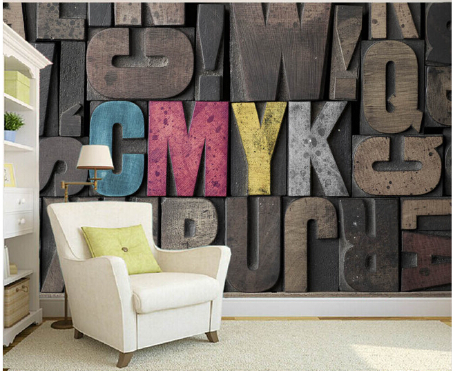 Custom 3 d stereoscopic wallpaper, solid English letters used in the sitting room bedroom TV KTV wall  vinyl papel DE parede <br>