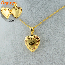 Anniyo Heart Allah Necklace Pendant for Women Muslim Jewelry For Men,Gold Color Islam Chain Necklaces Prophet Muhammad(China)