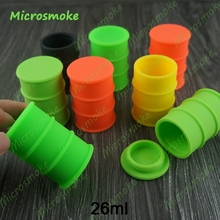 Silicone oil barrel container jars dab wax vaporizer oil rubber drum shape container 26ml Food grade silicon dry herb herbal