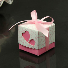 Ribbons Are Included Wedding Favor Candy Boxes Pink/ Purple/ light purple Colours Wedding Party Gift Box 200pcs(China)
