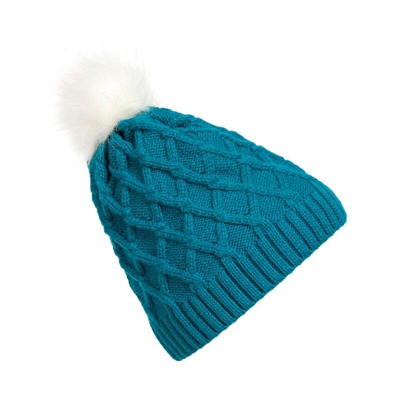 1 pc Fashion Beanies Women Lady Faux Fur Ball Winter Warm Crochet Knitted Hat Ski Cap BeanieÎäåæäà è àêñåññóàðû<br><br><br>Aliexpress