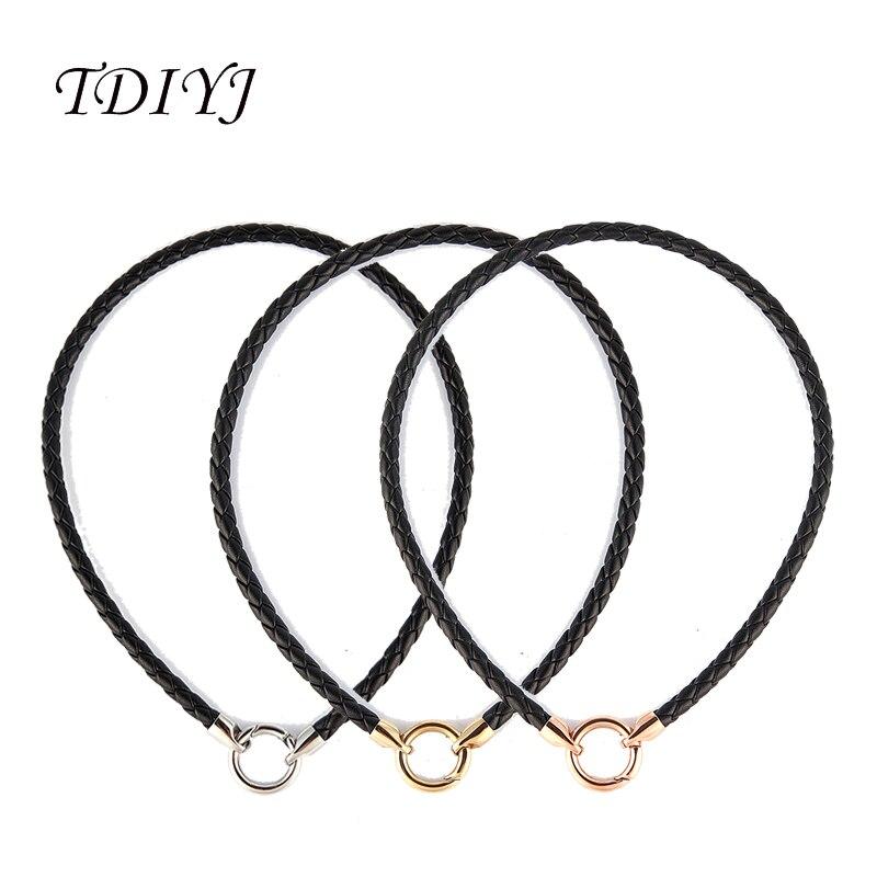 3pcs Braided Leather Choker Necklace Short Black PU Handmade Necklaces