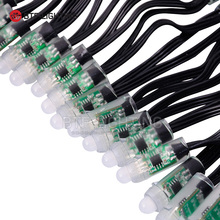 50 Pcs string 12mm WS2811 2811 IC RGB LED Pixels Module String Light Black Wire cable IP68 5V Holidays/Chrismas/ Festival
