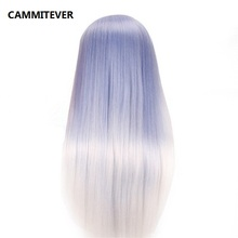 CAMMITEVER Blue White Mannequin Head Hair Hairdressing Doll Fake Heads Training Manikin Rainbow Synthetic Hair Manik Cosmetology